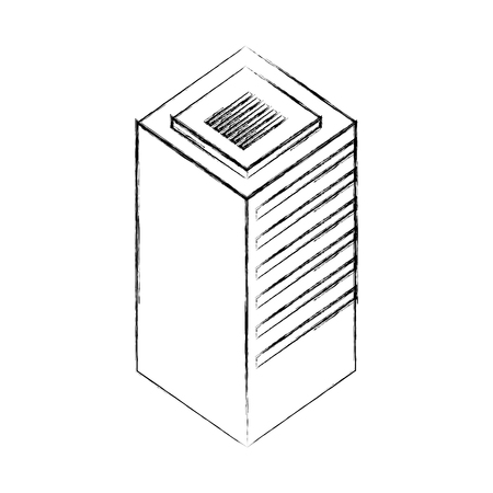 database center server storage technology vector illustration hand drawing