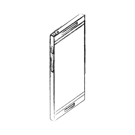 smartphone display digital gadget technology vector illustration hand drawing