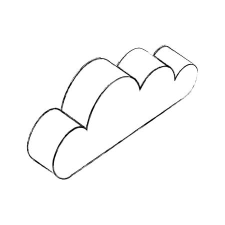 Nube isométrica clima clima icono ilustración vectorial dibujo a mano Ilustración de vector