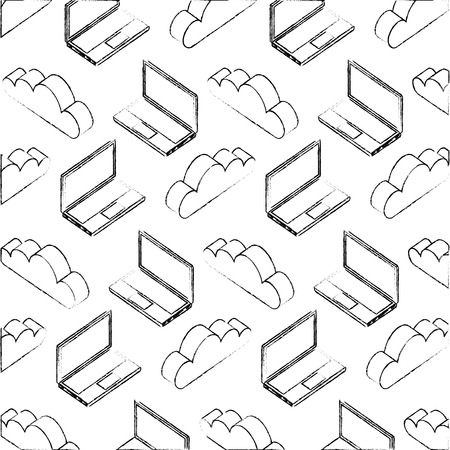 laptop computer cloud storage data pattern vector illustration hand drawing Illustration