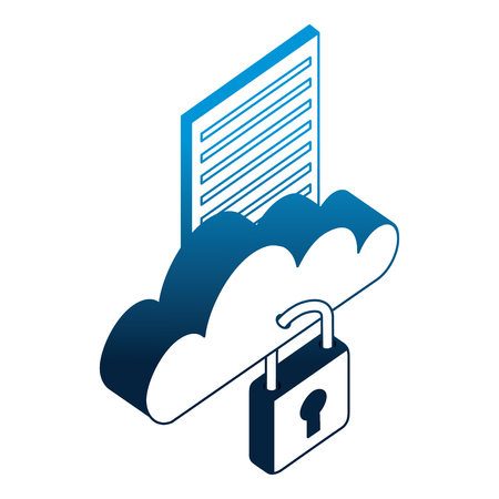 cloud computing with padlock and document isometric icon vector illustration design