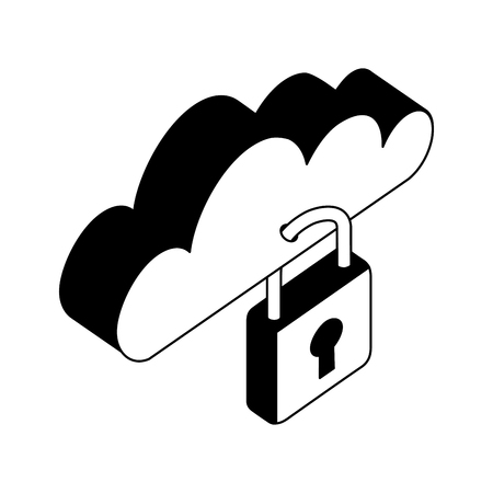 cloud computing with padlock isometric icon vector illustration design