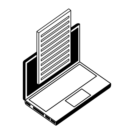 laptop computer with document isometric icon vector illustration design