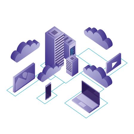 data center network icons Иллюстрация