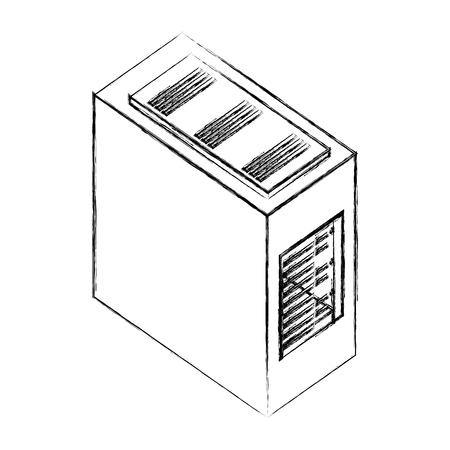 computer server case cpu hardware vector illustration hand drawing