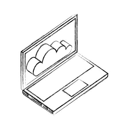 laptop computer cloud storage network data vector illustration hand drawing Illustration