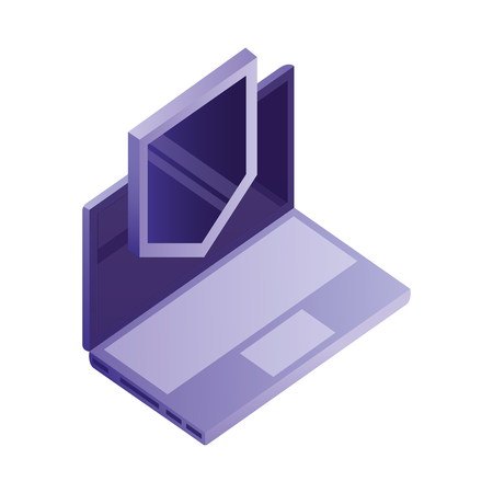 laptop computer with shield isometric icon vector illustration design