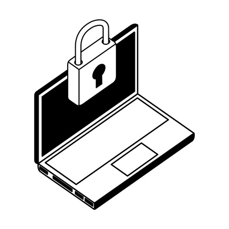 laptop computer with padlock isometric icon vector illustration design