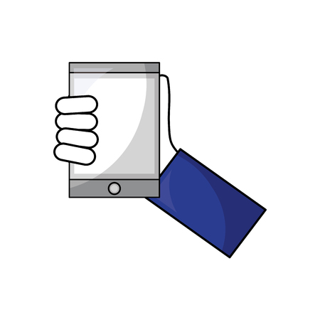 hand with tablet device isometric icon vector illustration design Ilustração