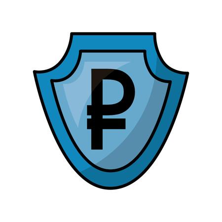 shield with symbol of crypto money isometric icon vector illustration design