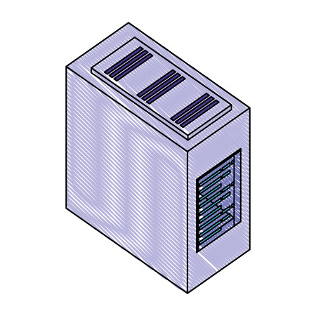 computer server case cpu hardware vector illustration