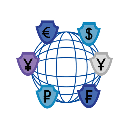 world foreign exchange shield coins economy vector illustration