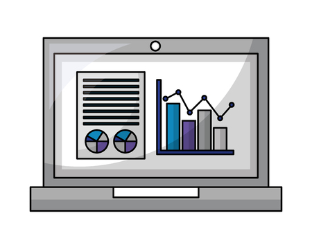 laptop computer with statistics graphics isometric icon vector illustration design Ilustração
