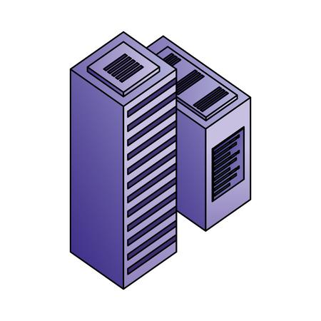 dataserver center tower cpu computer network data vector illustration