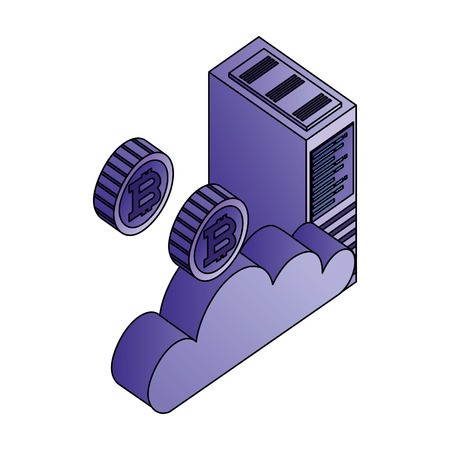 cloud computing datacenter server cloud bitcoin money virtual vector illustration