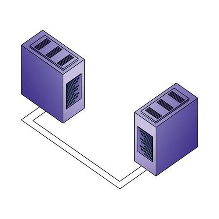 database server center connection network data vector illustration Illustration