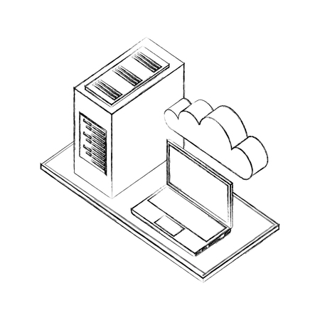 laptop computer cpu tower cloud storage network data vector illustration hand drawing