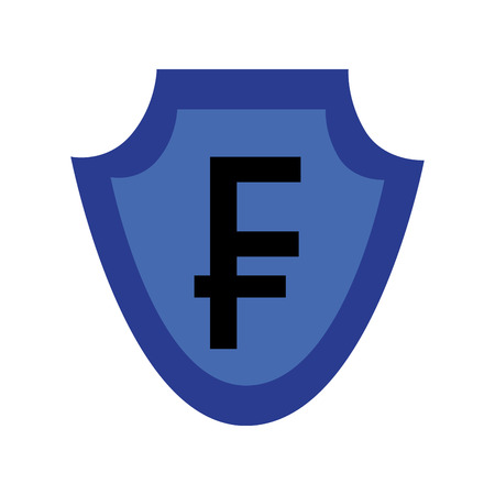 currency such as shield franc symbol foreign exchange vector illustration  イラスト・ベクター素材