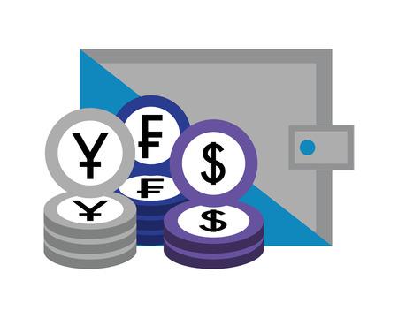 business wallet currency coins franc dollar yen vector illustration