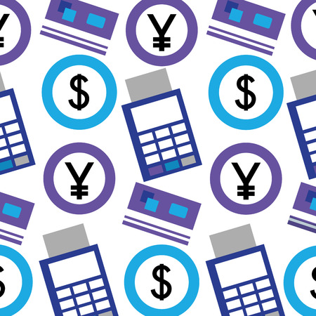 foreign exchange dataphone credit card coins pattern vector illustration Ilustrace