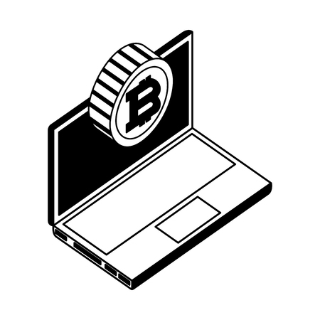 computer device with bitcoin virtual isometric icon vector illustration design