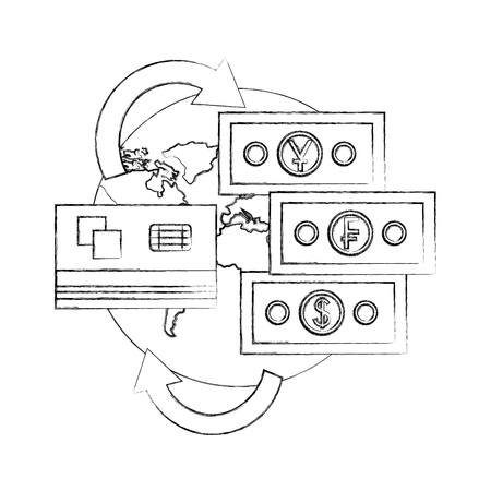 world foreign exchange credit card money banknote vector illustration hand drawing Иллюстрация
