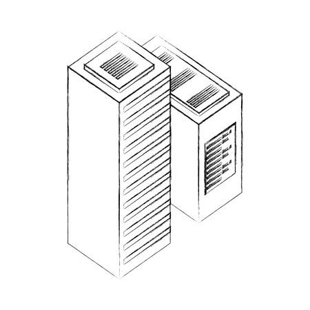 dataserver center tower cpu computer network data vector illustration hand drawing Illustration