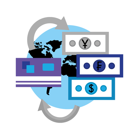 world foreign exchange credit card money banknote vector illustration 일러스트