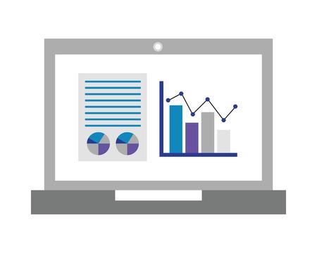 laptop business report statistics diagram document vector illustration Illustration