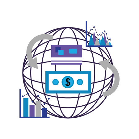 world transaction money dollar statistics foreign exchange vector illustration Illustration