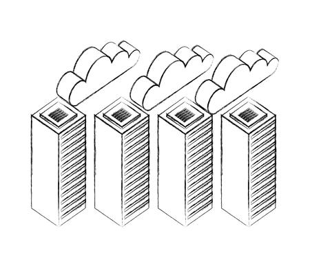 database server center network cloud storage vector illustration hand drawing