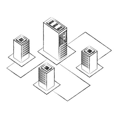 server datacenter network data connection process development vector illustration hand drawing