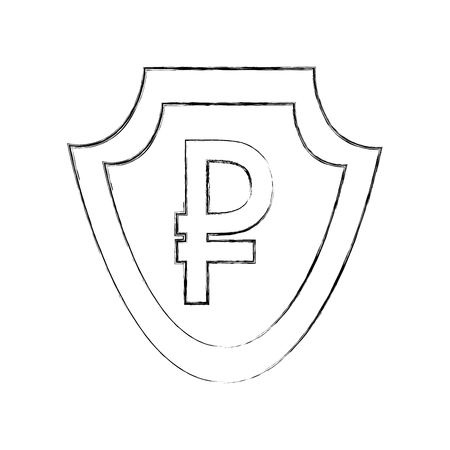 currency such as shield ruble symbol foreign exchange vector illustration hand drawing