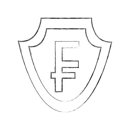 currency such as shield franc symbol foreign exchange vector illustration hand drawing