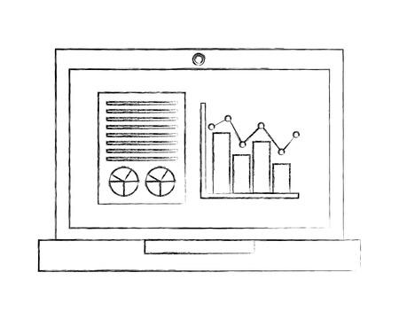 laptop business report statistics diagram document vector illustration hand drawing