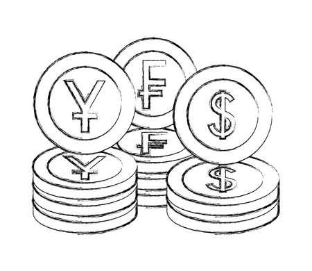money currency coins yen franc and dollar vector illustration hand drawing