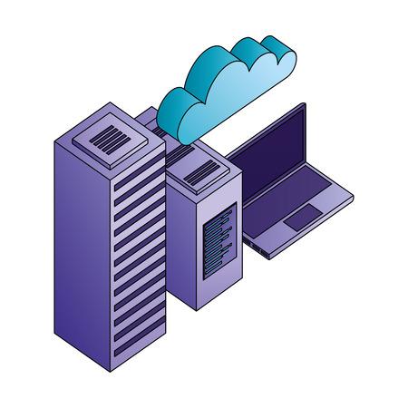 database server computer cpu laptop cloud storage vector illustration