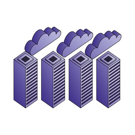database server center network cloud storage vector illustration Illustration