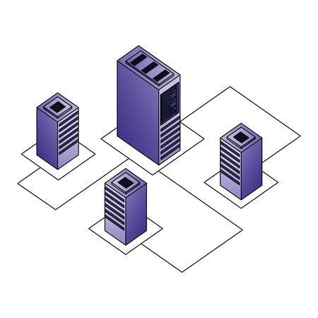 server datacenter network data connection process development vector illustration