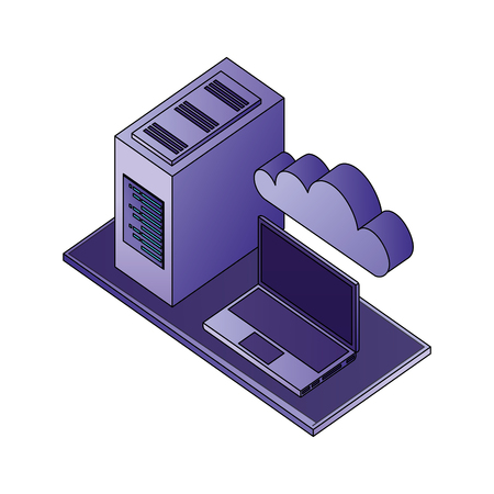 laptop computer cpu tower cloud storage network data vector illustration