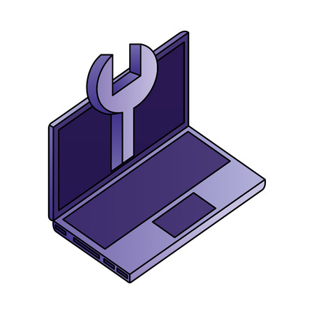 laptop computer wrench support digital technology vector illustration
