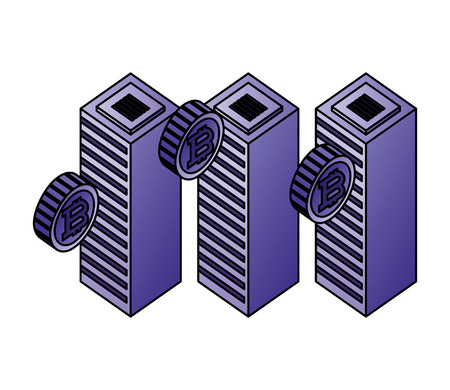 datacenter server computer bitcoin currency virtual vector illustration
