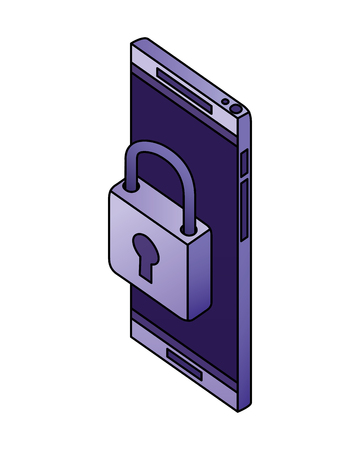 smartphone security padlock network data vector illustration