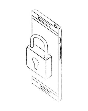 smartphone security padlock network data vector illustration hand drawing Illustration