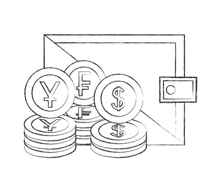 business wallet currency coins franc dollar yen vector illustration hand drawing