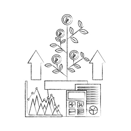 foreign exchange plant growth franc coins calculator vector illustration hand drawing Illustration