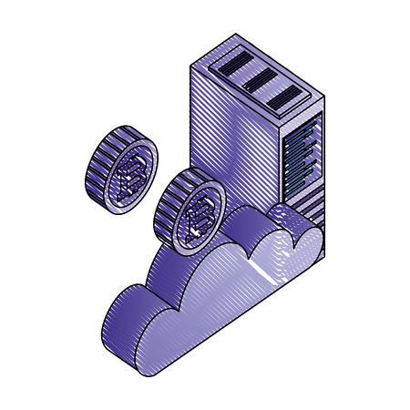 tower server and bitcoins vector illustration design