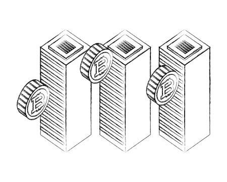 datacenter server computer bitcoin currency virtual vector illustration hand drawing Foto de archivo - 111663171