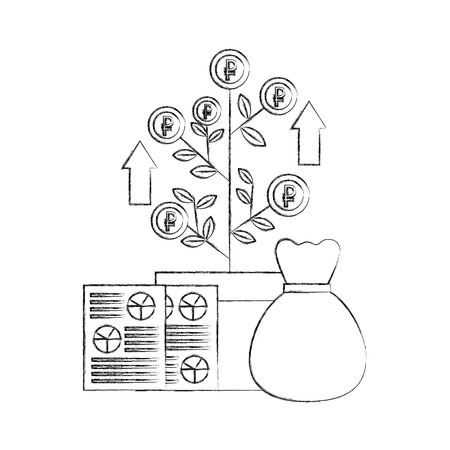money bag document plant growth coins report foreign exchange vector illustration hand drawing Imagens - 111663186