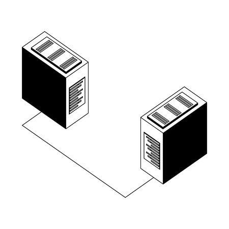servers data center with circuit isometric icon vector illustration design